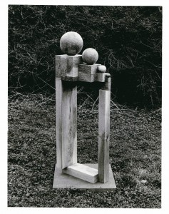 4 Spheres and 4 Cubes 1976 Walnut