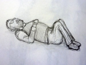 Lucy Carpenter The Sleeping Professor 2013 Pencil